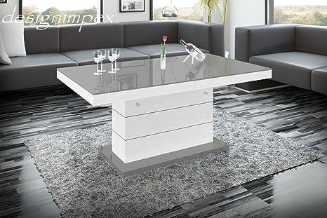 Design Couchtisch H-333 Weiß / Grau Hochglanz höhenverstellbar ausziehbar Tisch