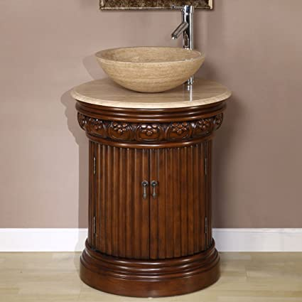"24"" Bathroom Furniture Travertine Top Single Sink Vanity Cabinet 160T"