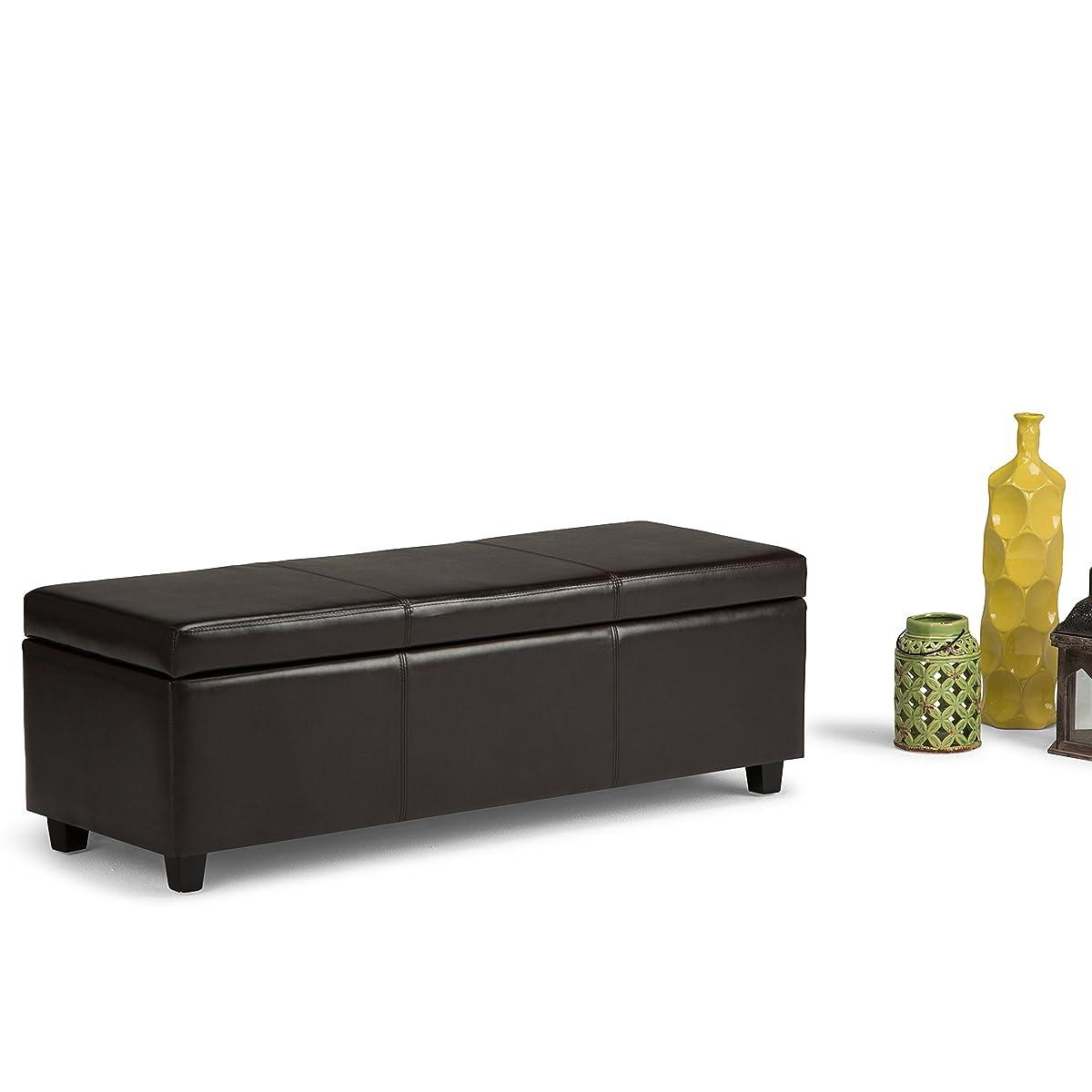 Simpli Home Avalon Rectangular Faux Leather Storage Ottoman Bench, Large, Brown