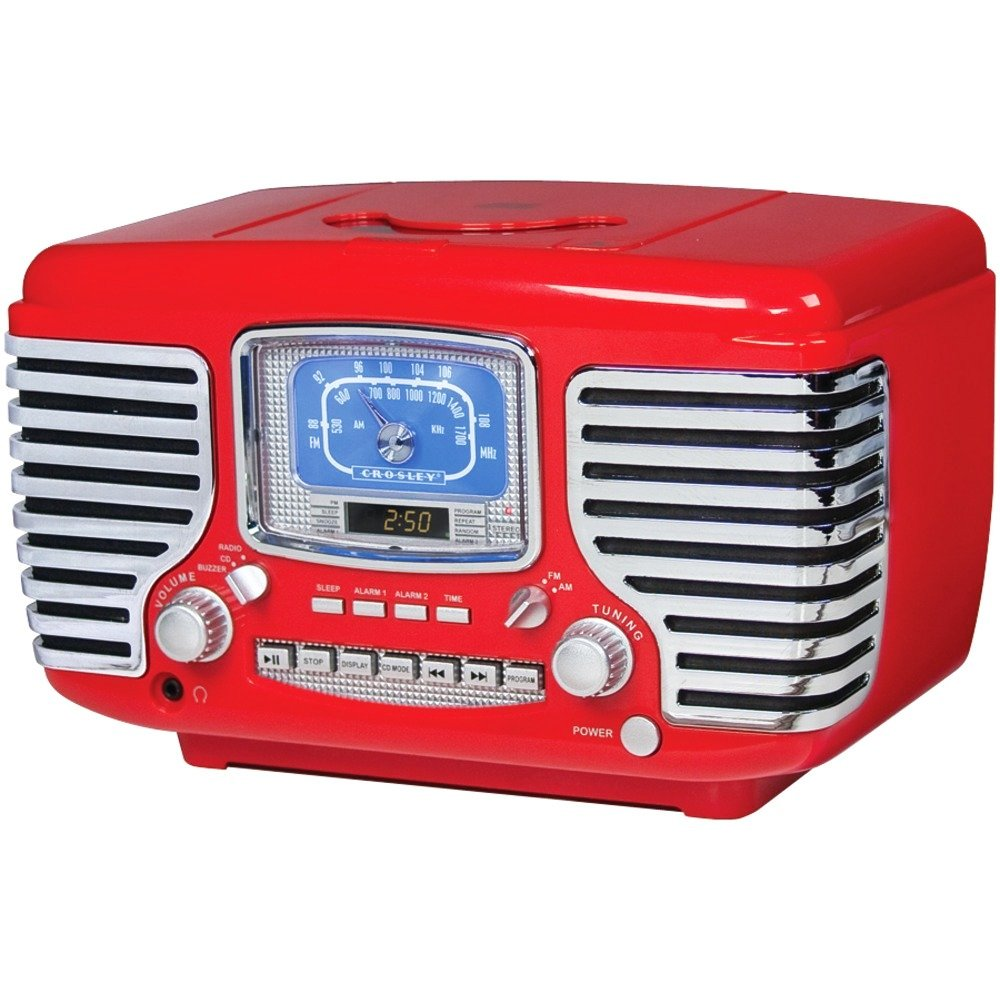 Crosley Corsair Red Alarm Radio and CD Player 0