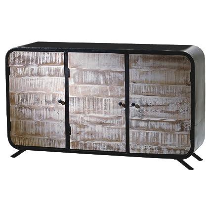 Sideboard Anrichte Kommode Drobak Altholz Massivholz Mangoholz Metall Breite 150 cm Tiefe 44 cm Höhe 90 cm