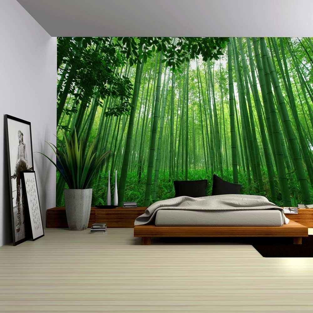 Close up view into a pure green bamboo forest wall mural for Bamboo forest wall mural
