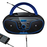 LONPOO CD Player Portable Boombox FM Radio, Bluetooth MP3/CD Player, with Aux-in, USB&Headphone Jack (Color: Black 02)