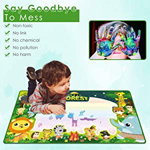 Aqua Magic Mat for Kids, 39.4x23.6Inch Large Water Drawing Mat Non-toxic Reusable Kids Toy Colorful Educational Toddler Painting Board, Christmas Gift for Boys Girls Aged 3-12+