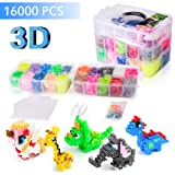 PITAYA-3D Fuse Bead Kit-20 Color(5 Glow in The Dark),Small Iron,Full Size Pattern,Tweezers, Peg Boards, Ironing,Paper,Perler Beads Compatible(16000PCS) (Tamaño: 16000new)