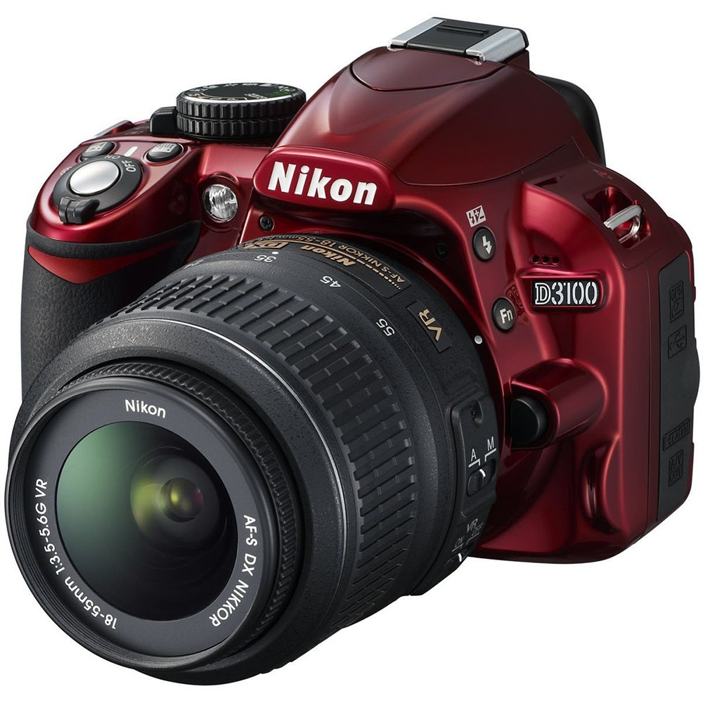 Nikon D3100 Digital SLR Camera with 18-55mm f/3.5-5.6 Auto Focus-S Nikkor Zoom Lens (Red)(Certified Refurbished)