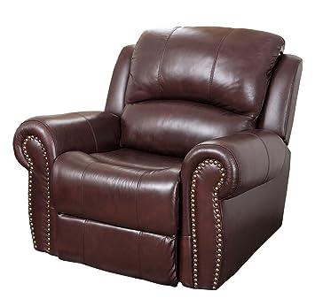 Abbyson Living Mercer Reclining Italian Leather Armchair