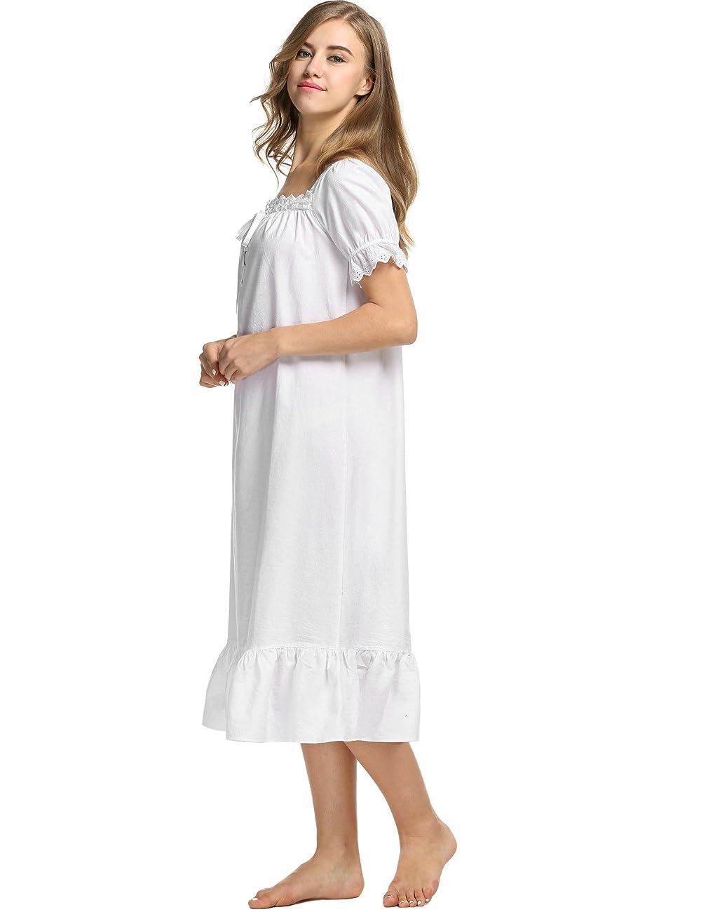 Avidlove Womens Cotton Victorian Vintage Short Sleeve Nightgown Sleepwear 2