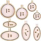 Jovitec 8 Sets Mini Ring Embroidery Hoop Wooden Mini Cross Stitch Hoop for Frame Craft Favors (Color Set 1) (Color: Color Set 1)