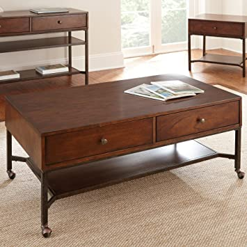 Steve Silver Hayden Rectangle Light Wood Coffee Table with Casters