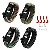 AMOSTING 4PCS Survival Bracelet, Multifunctional Adventure Outdoor Paracord Bracelet Flint Fire Starter,Compass, Whistle&Knife, Food Fishing GearScrap