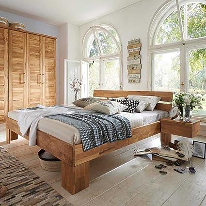 Doppelbett aus Wildeiche Massivholz geölt Breite 206 cm Ohne Liegefläche 200x200 Pharao24