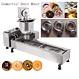 Ridgeyard Stainless Steel Commercial Donut Maker 3000 Watts Automatic Donut Maker 7L Donut Making Machine with 3 Sets Mold,Wide Oil Tank
