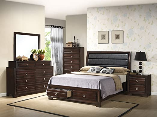 Home Source 50902061 Barcelona Collection Asian Hardwood Bed, King, Espresso