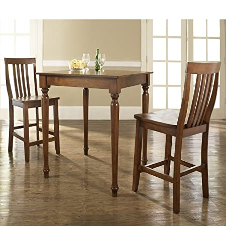 3-pc Pub Dining Set with Turned Leg and School House Stools by Crosley - Classic Cherry Finish (KD320011CH) (Set of 2)