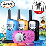 iGeeKid 4Pack Kids Walkie Talkie Two Way Radio Long Range 22 Channel with Earpiece and Speaker Mic LED Flashlight for Girls Boys Marine Cruise Hiking Camping Travel Gifts (Black Blue Pink Yellow)