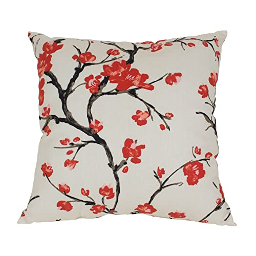 Pillow Perfect Flowering Branch Decorative Square Floor Pillow, 24.5-Inch by 24.5-Inch, Beige/Red