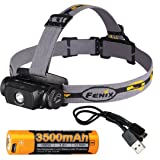 Fenix HL55 Rechargeable 900 Lumens Headlamp with Fenix 3500mAh Rechargeable 18650 Battery (Built-In Charge Port) & LumenTac USB Charge Cable