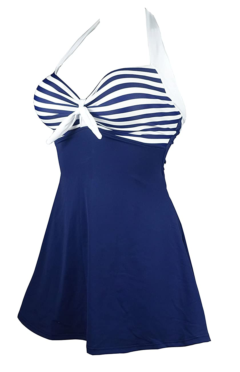 Cocoship Vintage Sailor Pin Up Swimsuit One Piece Skirtini Cover Up Swimdress(FBA) 1