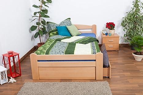 """Bettgestell / Gästebett """"Easy Sleep"""" K4 inkl. 2 Schubladen und 1 Abdeckblende, 120 x 200 cm Buche Vollholz massiv Natur"""
