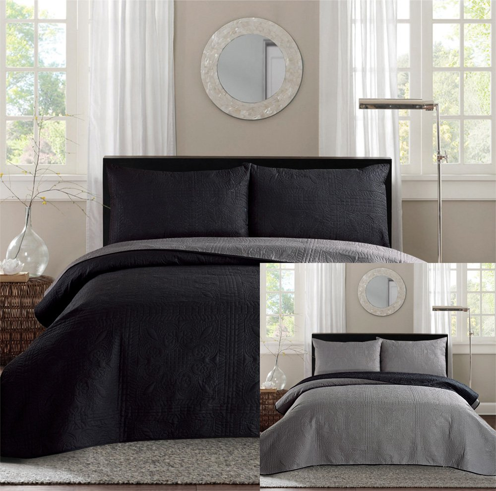 Black and grey bedding - Black Grey Reversible Bedspread Coverlet Set