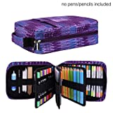 Pencil Case Holder Slot - Holds 202 Colored Pencils or 136 Gel Pens with Zipper Closure - Large Capacity Pen Organizer for Watercolor Pens & Markers | Perfect Gift for Students & Artist purple (Color: Purple202)