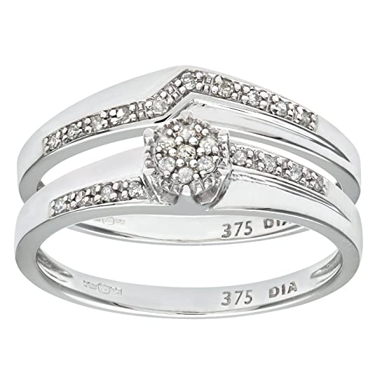 Naava 9ct White Gold 0.12ct Diamond Wishbone Bridal Set Crossover Ring