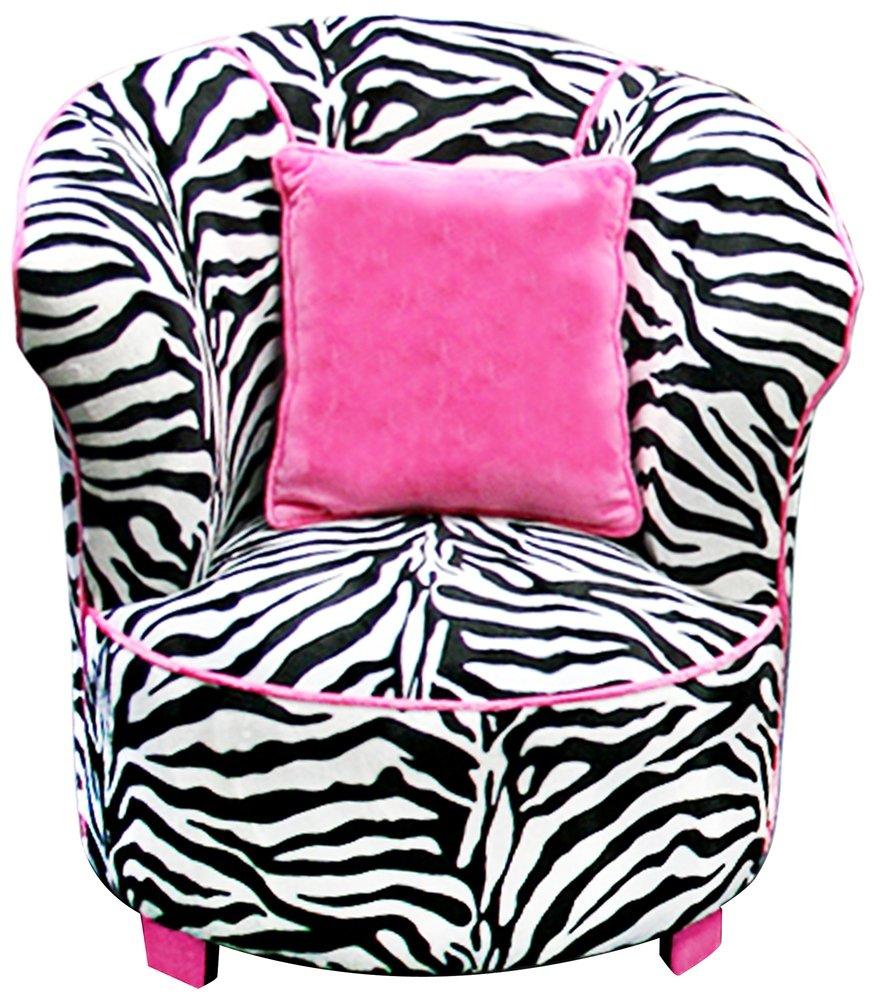 Kids zebra print fuzzy furry tulip chair with hot pink pillow
