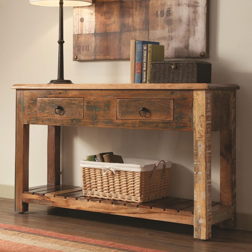 1PerfectChoice India Antique Accent Cabinet Console Sofa Table Rustic Reclaimed Wood Mix Teak 0