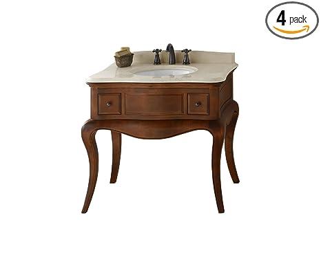 "Ronbow 073036-F11_Kit_2 Corsica Bathroom Vanity Set in Colonial Cherry with Cream Beige Marble Countertop/Backsplash & White Oval Ceramic Undermount Sink, 36"""