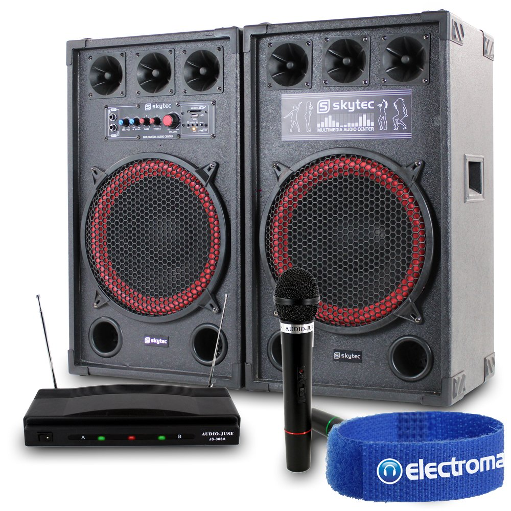 "2x Skytec 12"" Red Active Powered DJ PA Party Speakers + 2x Wireless Microphones Sound System 800W"