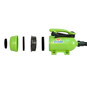 XPOWER B-2 2 HP Pro-at-Home 2-in-1 Pet Force Dryer and Vacuum, Green (Color: Green, Tamaño: 13 x 9 x 6)