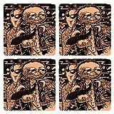 Posterboy Alien Uttam Alien Suchitra MDF Coaster Set, Set Of 4, 101mm, Multicolor