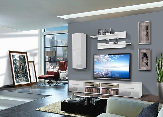 Parete soggiorno moderna, mobile porta tv, modello Isa finitura corpo bianco frontali bianco e mensole bianco