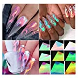 Nail Art Stickers, Firstfly 16 Sheets Nail Foil Stickers Fire Flame Reflections Tape Adhesive Sticker Foils DIY Decoration Nail Decor Manicure (16Pcs Mix Colors) (Color: 16Pcs Mix Colors)