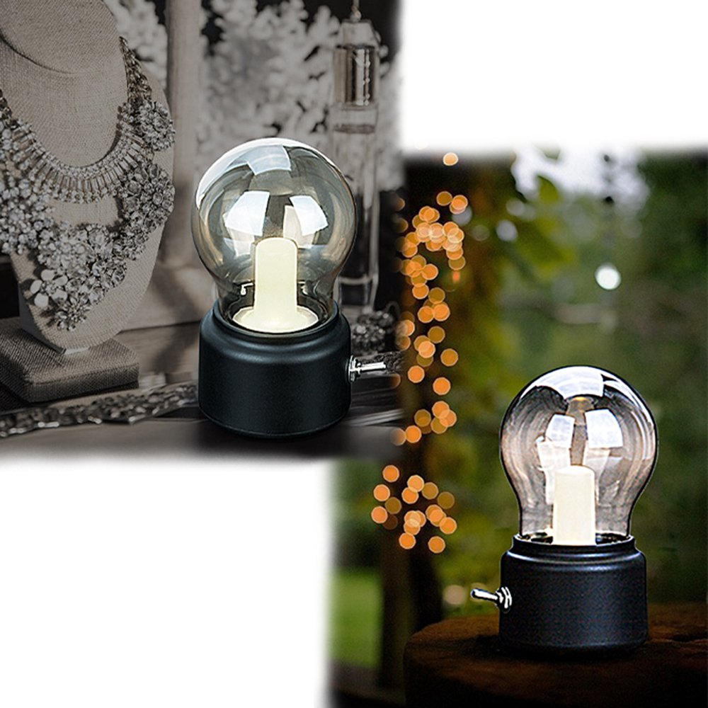 Veesee LED Vintage Light Bulb Rechargeable Night Light Safety USB Energy Saving Low Voltage Portable for Home Desk Table Tea Travel (Black) 2