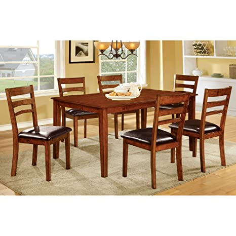 Furniture of America Crosslin 7 Piece Rectangular Dining Table Set
