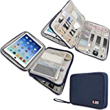 Electronics Travel Organizer Bag for Cables, Charger, USB, Flash Drive, Phone Accessories, Power Bank, BUBM Travel Cords Organizer Case with Shape Maintaining Piping Frame (Large, Navy) (Color: Blue, Tamaño: Large,2layer)