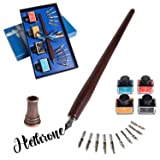 Stanpetix Calligraphy Pen Set Wooden Dip Pen With 4 Color Inks and 11 Replaceable Nibs (Color: A-SW-C007)