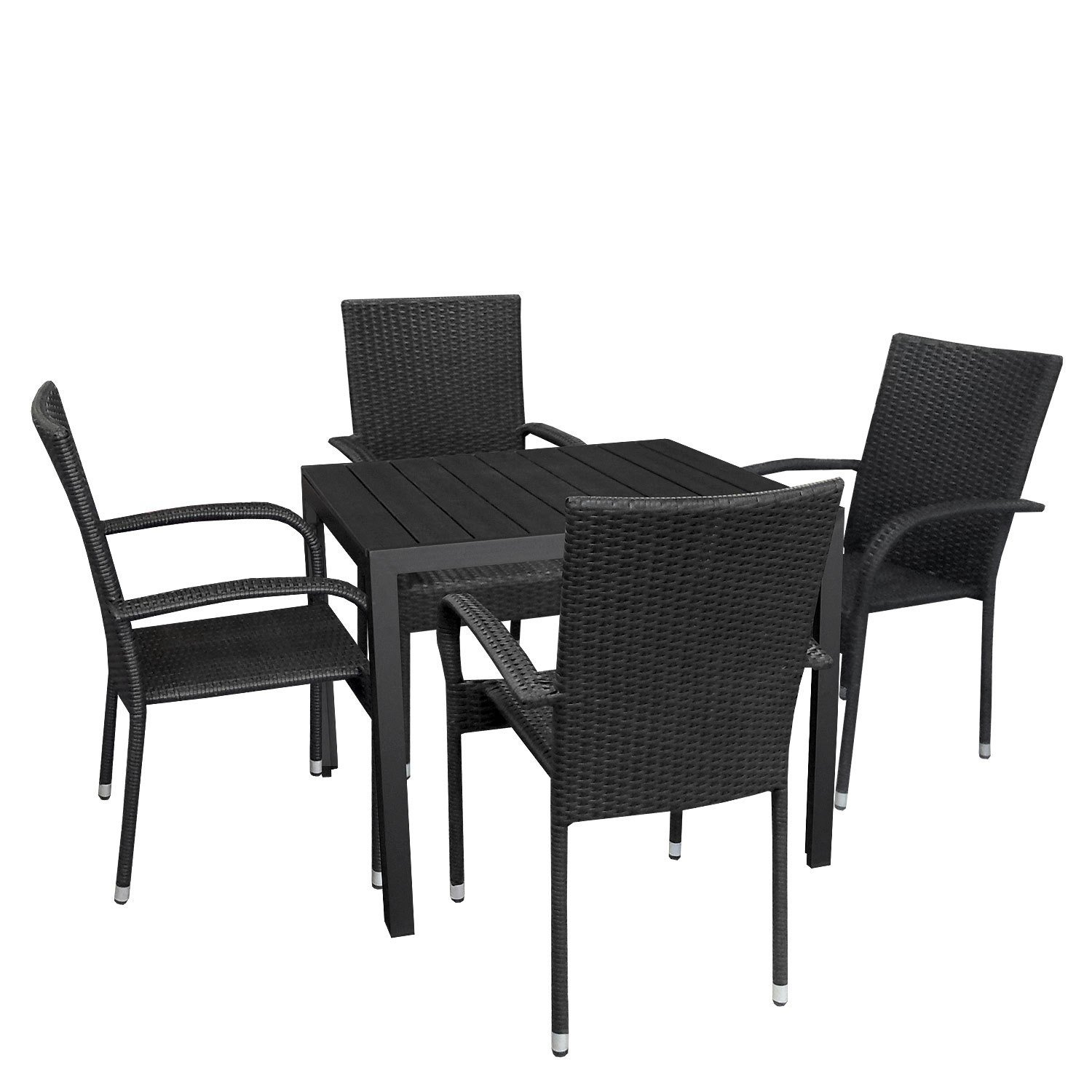 5tlg gartengarnitur aluminium bistrogarnitur polywood gartentisch 90x90cm poly rattansessel. Black Bedroom Furniture Sets. Home Design Ideas