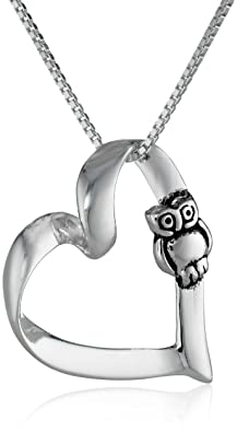 Sterling Silver Open Heart Pendant Necklace with Owl, 18""