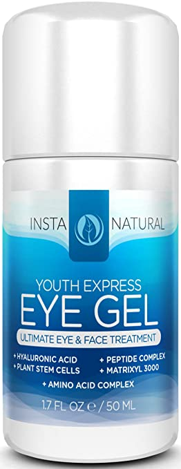 InstaNatural Eye Cream For Dark Circles, Puffiness, Wrinkles & Bags - 1.7 OZ - Best Under Eye Gel Treatment Solution For Eye Bags, Crows Feet, Dry Skin, Fine Lines & Sagging Eyes - With Plant Stem Cells, Hyaluronic Acid, Matrixyl 3000, Cucumber, Peptide Complex, Cucumber, Aloe, MSM & More
