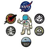 7 Pieces Space Theme Patch Set NASA/I Want to Leave The Earth/Trust No One/I Want to Believe/I Want to Leave/Planet Express/Astronaut Embroidered Applique Morale Patch (Color: 7 Pieces Space)