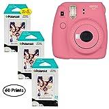 Fujifilm Instax Mini 9 Instant Camera (Flamingo Pink), 3X Twin Pack Instant Film (60 Sheets) Bundle (Color: Flamigo Pink, Tamaño: 60 Prints)
