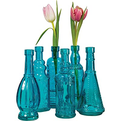 Luna Bazaar Small Vintage Glass Bottle Set, (7-inches, Sierra Design, Turquoise Blue, Set of 6) – Flower Bud Vases Bulk – for Party and Wedding Centerpieces
