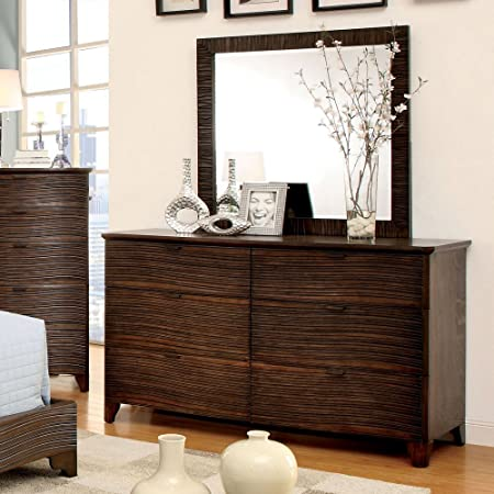 Banaue Grooved 6 Drawer Dresser with Mirror