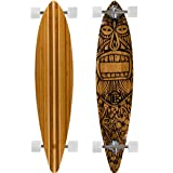 Bamboo Skateboards Hard Good Tiki Man Long Board Complete, 44 x 9.5-Inch, Natural Top (Pintail) (Color: Natural Top (Pintail), Tamaño: 44 x 9.5-Inch)