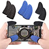 Qoosea Mobile Game Controller Finger Sleeve Sets [6 Pack] Breathable Anti-Sweat Full Touch Screen Sensitive Shoot Aim Joysticks Finger Set for PUBG/Knives Out/Rules of Survival for Android iOS (Color: Black+Blue 6Pack)