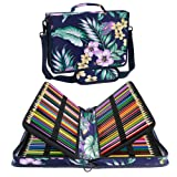 Shulaner 160 Slots Colored Pencil Case Organizer Sinensis Flower Large Capacity Portable Pencil Bag (160-Flower-Blue) (Color: 160 - Flower-blue, Tamaño: 160)