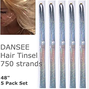 DANSEE 48 Hair Tinsel 750+ Strands Kit Sparkling Silk Fairy Hair Shiny Hair Flairs Tinsel Extensions Party Highlights Hair Dazzle Glitter Extensions Bling Synthetic Hairpieces Set (Silver) (Color: Silver)